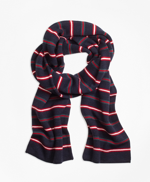 Merino Wool Stripe Scarf Navy