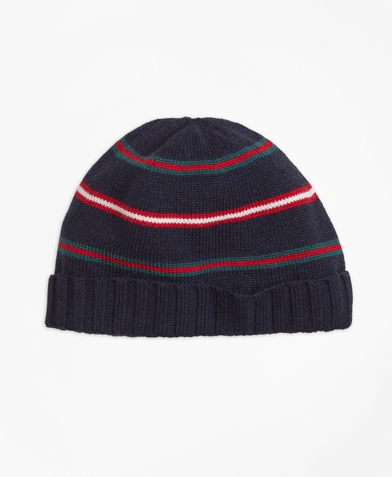 Merino Wool Stripe Hat Navy
