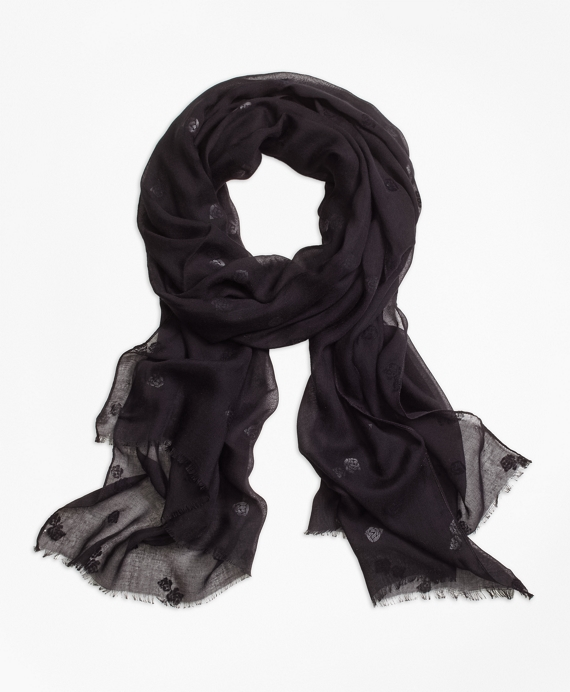Flocked Floral Scarf Black
