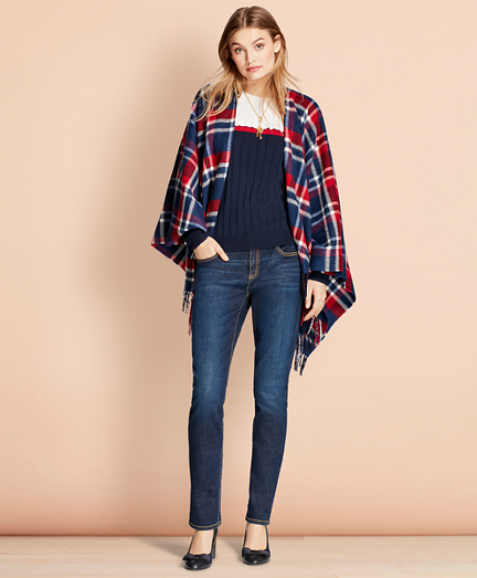 Plaid Wool Ruana
