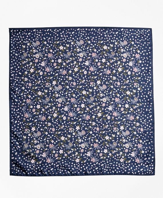 Floral-Print Silk Square Scarf Navy-Multi