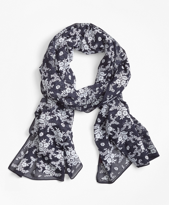 Flocked Floral-Print Scarf Navy-White