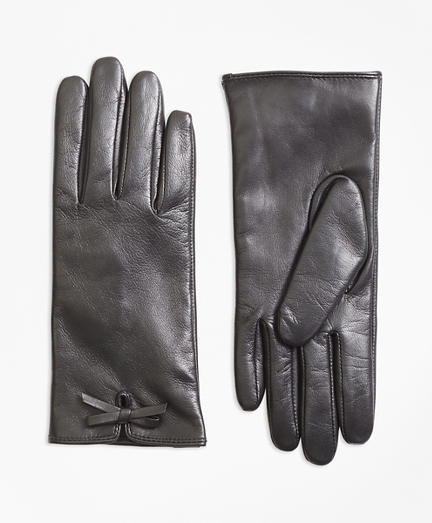 Bow-Trimmed Leather Gloves