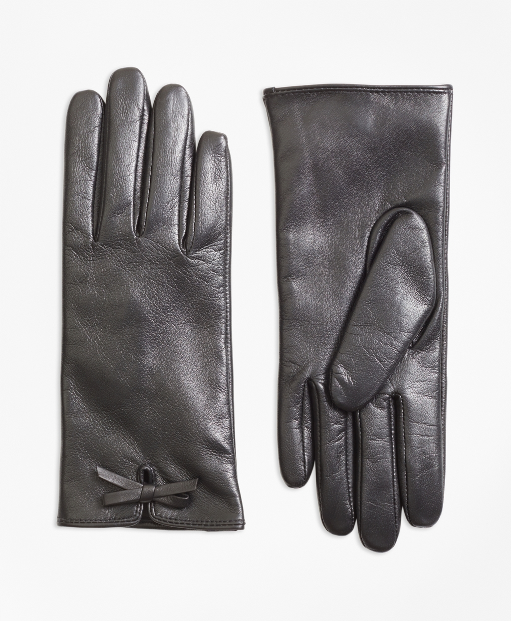 Victorian Gloves | Victorian Accessories Brooks Brothers Womens Bow-Trimmed Leather Gloves $58.00 AT vintagedancer.com