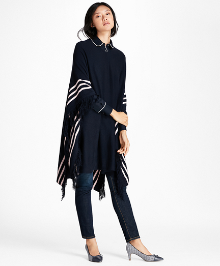 BB#1 Striped Wool Poncho