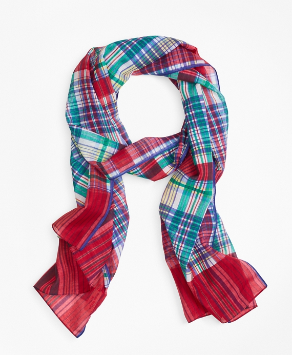 Madras Cotton Gauze Oblong Scarf Red-Multi