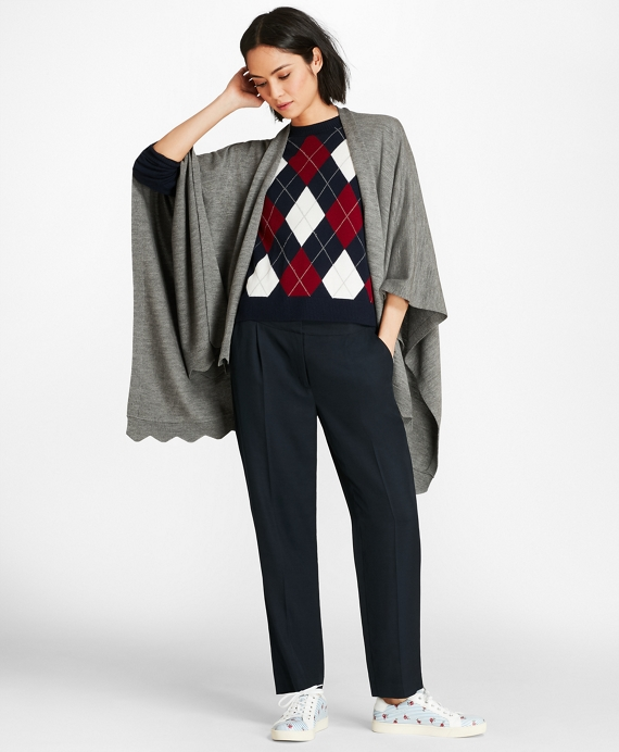 Scallop-Edged Merino Wool-Blend Wrap Grey