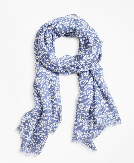 Floral-Print Oblong Scarf