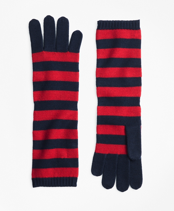 Striped Wool Elbow-Length Gloves Navy-Red