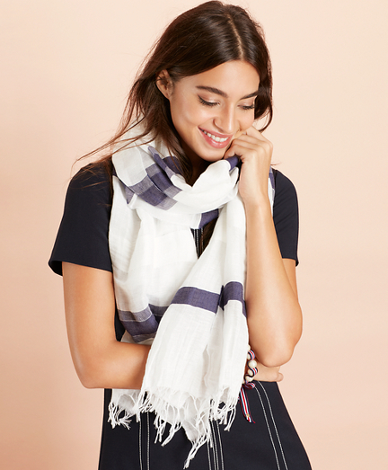 Striped Linen-Cotton Scarf