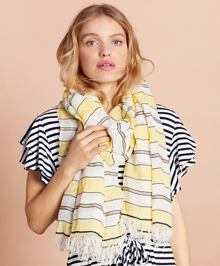 Striped Linen-Cotton Gauze Scarf