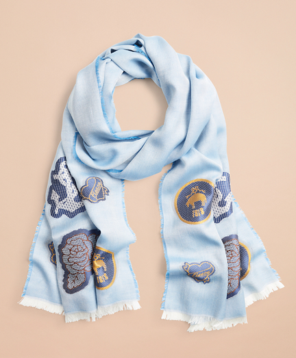 Patch-Embellished Silk-Cotton-Blend Scarf