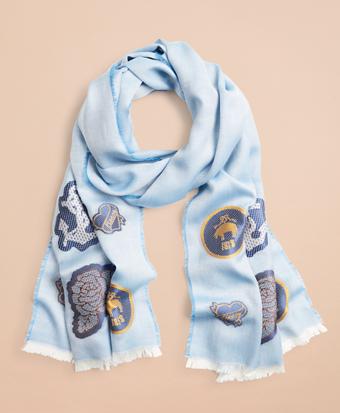 Patch-Embellished Silk-Cotton-Blend Scarf