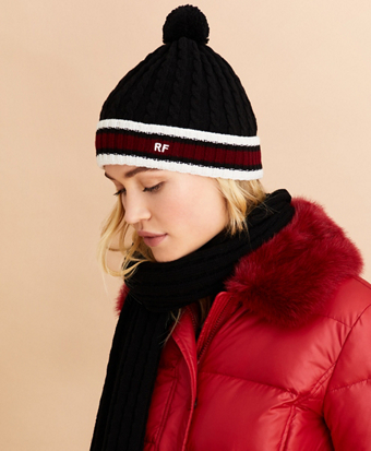 Striped Cable-Knit Wool-Cotton Hat