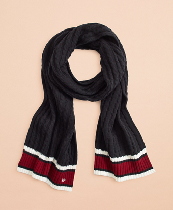 Striped Cable-Knit Wool-Cotton Scarf