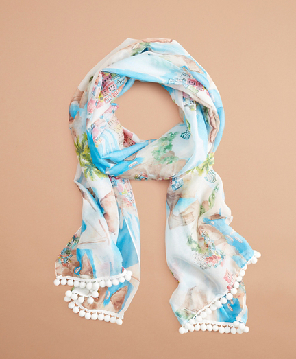 Tropical-Print Cotton-Silk Oblong Scarf