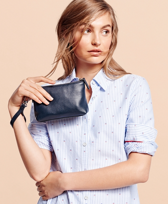 Pebble Leather Wristlet Navy