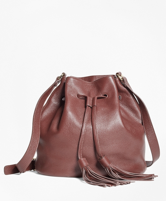 Leather Bucket Bag Brown