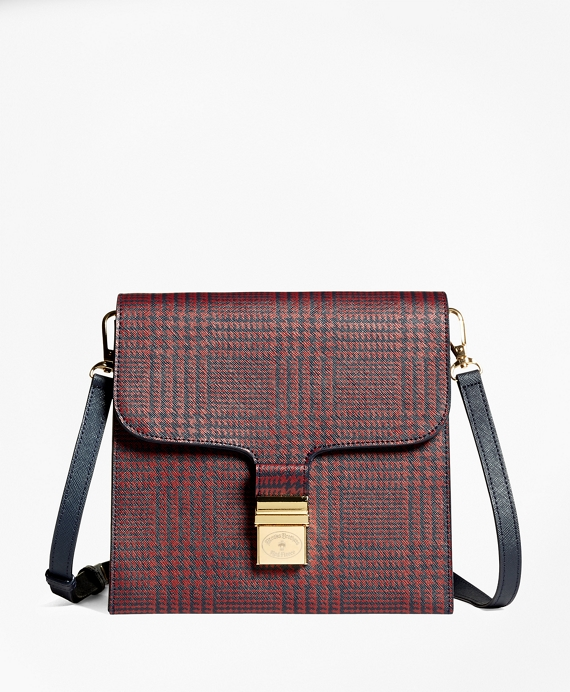 Leather Crossbody Bag Red-Navy