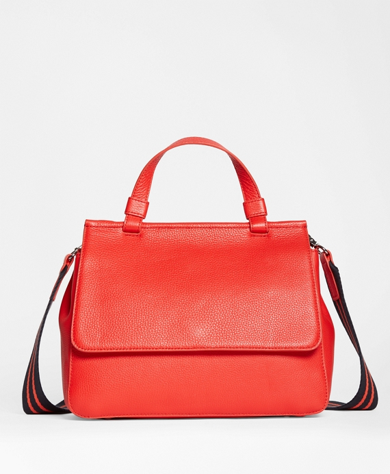 Pebble Leather Satchel Red