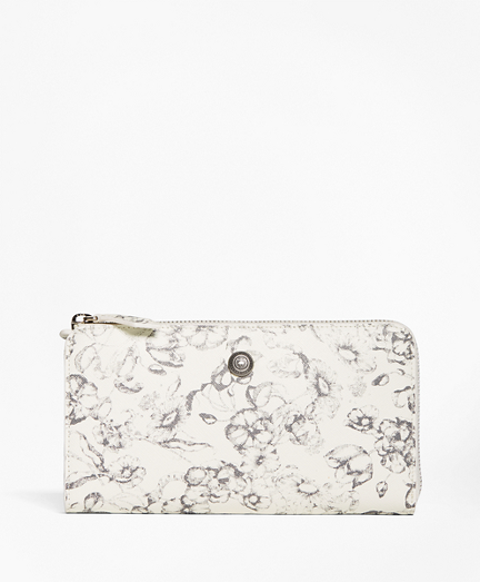 Floral Leather Full Zip Wallet