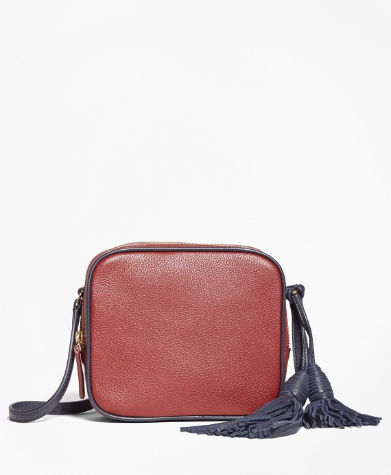Tasseled Leather Cross-body Bag Red-Navy