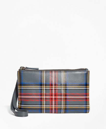 Tartan Leather Wristlet