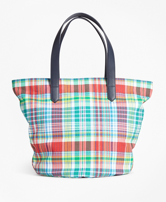 Madras-Print Canvas Tote Bag Multi