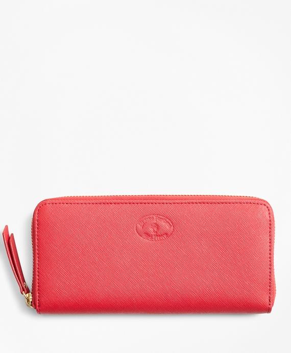 Saffiano Leather Zip-Around Wallet Red