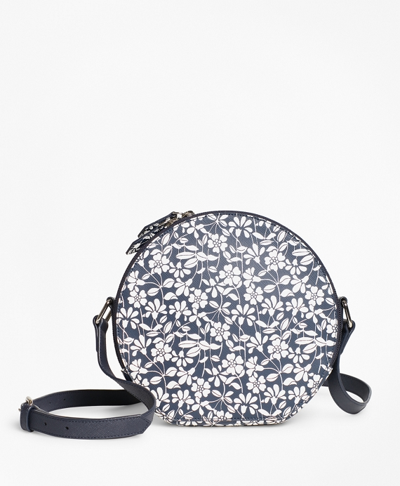 Floral Print Saffiano Leather Cross Body Bag by Brooks Brothers