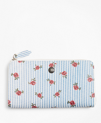 Rose-Print Striped Saffiano Leather Wallet