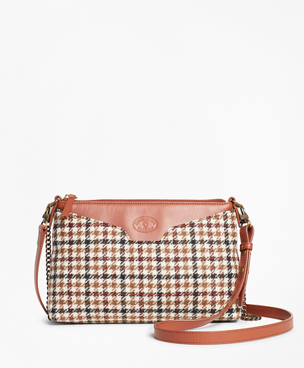 Checked Wool Double-Strap Convertible Cross-Body Bag