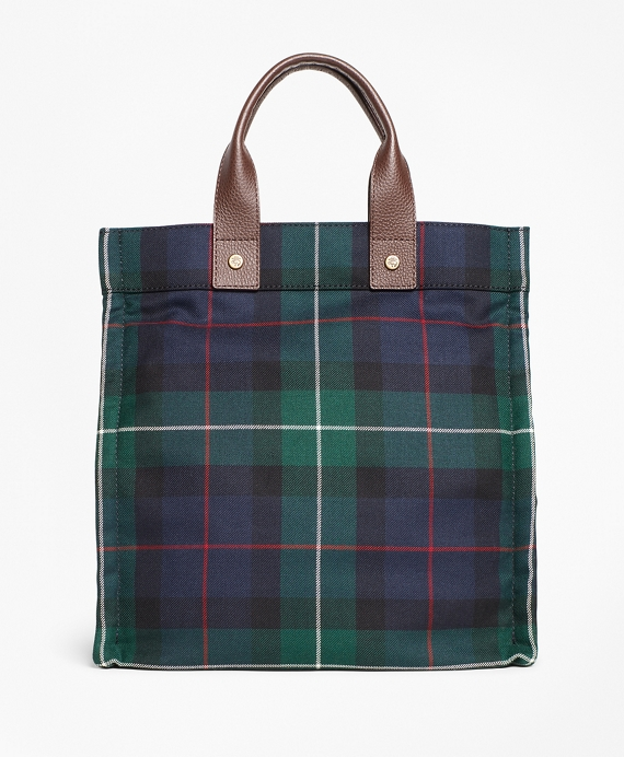 Black Watch Plaid Wool Tote Bag Green-Navy