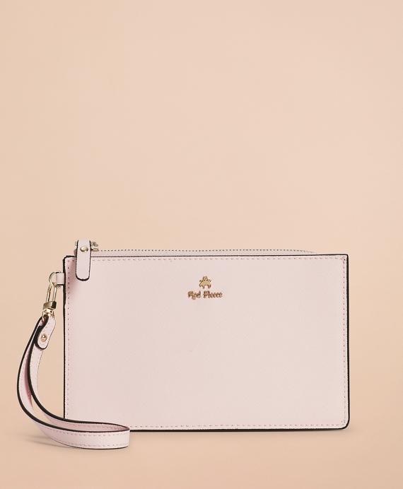 Saffiano Leather Wristlet Clutch Pink