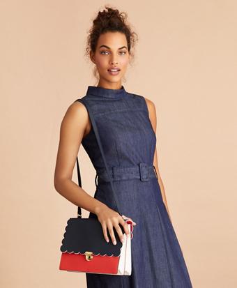 Color-Block Saffiano Leather Shoulder Bag