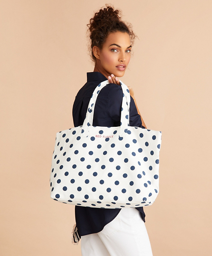 Polka-Dot Canvas Tote Bag