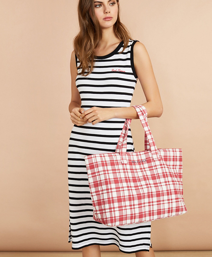 Plaid Canvas Tote Bag