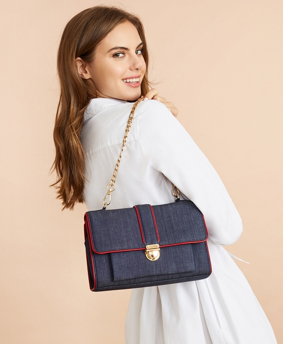 Denim Chain-Strap Shoulder Bag Dark Blue