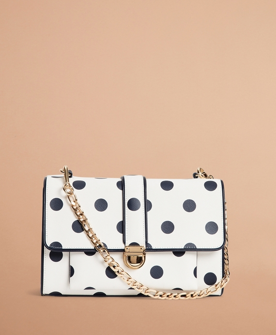 Polka-Dot Saffiano Leather Shoulder Bag White-Blue