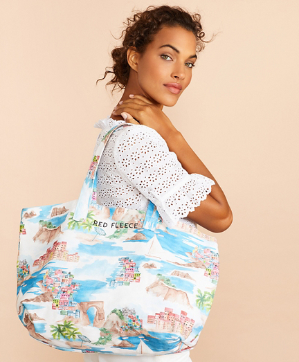 Tropical-Print Canvas Tote Bag