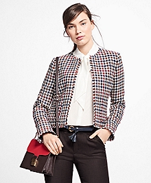 Wool-Blend Houndstooth Jacket