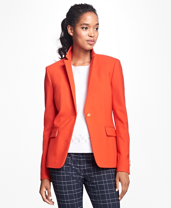 Stretch Wool One-Button Blazer Orange