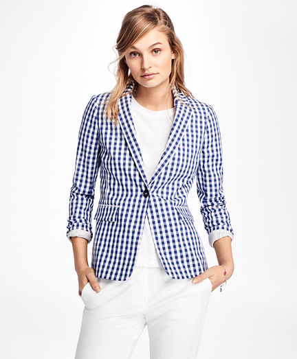 Gingham Stretch-Cotton One-Button Blazer