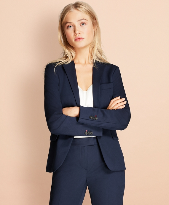 Stretch Wool Two-Button Jacket Navy