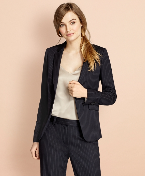 Pinstripe Stretch Wool One-Button Jacket Navy