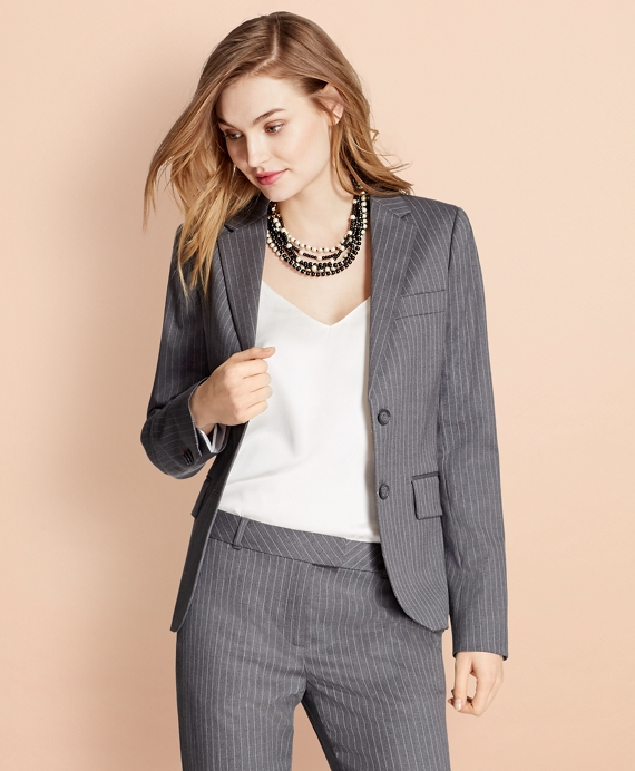 Pinstripe Stretch Wool Two-Button Jacket Grey