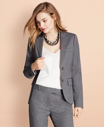 Pinstripe Stretch Wool Two-Button Jacket
