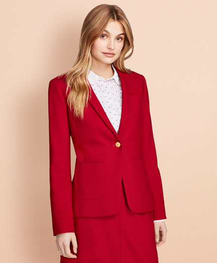 Wool-Blend Patch-Pocket Blazer