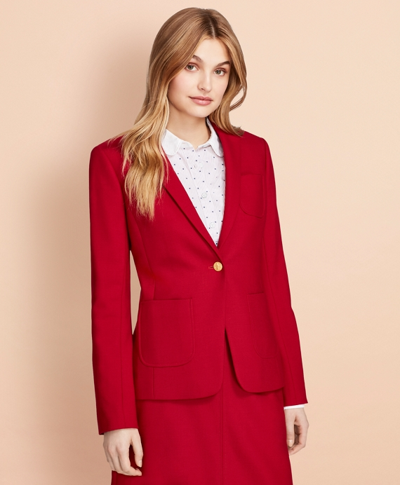 Wool-Blend Patch-Pocket Blazer Red