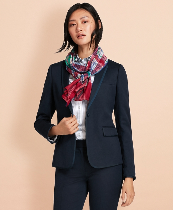 Grosgrain-Trimmed Linen-Cotton Blazer Navy